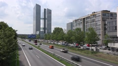 Fujitsu logo at the highlight tower in munich Stock Footage