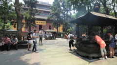 Lingyin Temple time lapse 1 30 fps zoom in Stock Footage