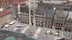 ULTRA HD 4K Aerial view tourist people visit Marienplatz Mary's Square New Town  Stock Footage