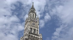 ULTRA HD 4K New Town Hall Tower building cloud landmark Munich city tourism day Stock Footage