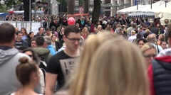ULTRA HD 4K Crowded pedestrian road Munich busy shopping street group commuter  Stock Footage