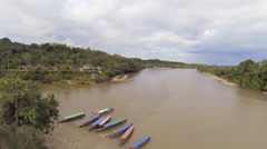 Aerial view of the Rio Napo near the village of Misahualli Stock Footage