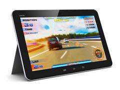 Tablet computer with video game - stock illustration