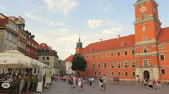 The Royal Castle and historical buildings in the Castle Square Stock Footage