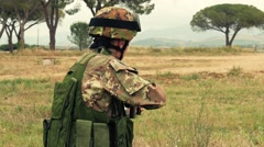 Soldier shooting, training, Grosseto, Italy Stock Footage