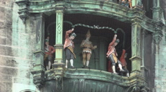 Closeup detail Glockenspiel statue New Town Hall tower Munich city landmark day Stock Footage