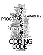 word cloud coding - stock illustration