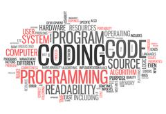 word cloud coding - stock illustration