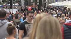 Crowded pedestrian road Munich busy shopping street group commuter travel urban  Stock Footage