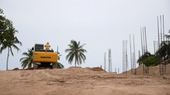 Mechanical Digger Working on Construction Area. Speed up. Stock Footage