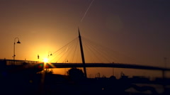 Suspension bridge at Pescara, Italy, at the sunset. Stock Footage