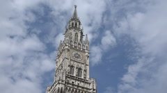 New Town Hall Tower building cloud landmark Munich city tourism attraction day Stock Footage