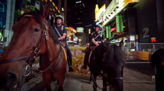 Police Officers on Horses NYPD Times Square, Manhattan, New York City, NYC, USA Stock Footage