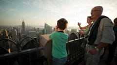 Boy Takes Photo from Observation Deck in Manhattan, New York City, NYC, USA Stock Footage