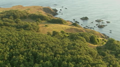 Aerial view of morning sunrise sea coast and green forest Stock Footage