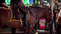 Police Officers on Horses in Times Square, Manhattan, New York City, NYC, USA Stock Footage