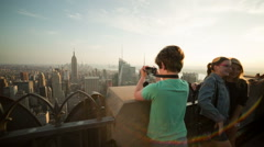 Boy Takes Photo from Observation Deck in Manhattan, New York City, NYC, USA - stock footage