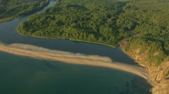 Aerial view of morning sunrise sea coast and river near to the beach Stock Footage