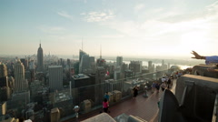 Observation Deck Manhattan with View Empire State Building New York City NYC USA - stock footage
