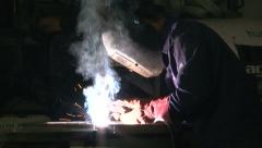 Work 11 Welder with Welding Electrode - stock footage