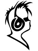 Silhouette of the person listening to music Piirros