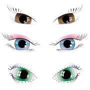 Stock Illustration of set of painted eyes