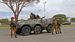 Soldiers and armored vehicle, training, Grosseto, Italy Stock Footage