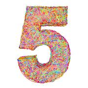 Number 5 composed of colorful striplines isolated on white Stock Illustration