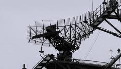 Navy Ship Radar Tower Rotates Stock Footage