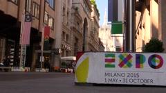 Milan, Maddonina Duomo and Expo 2015 Banner Stock Footage