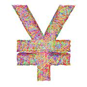 yen sign composed of colorful striplines isolated on white - stock illustration