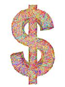 dollar sign composed of colorful striplines isolated on white - stock illustration