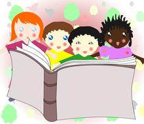 children of different races reading a book together - stock illustration