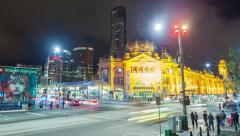 4k timelapse video of Flinders Street station in Melbourne at night Stock Footage