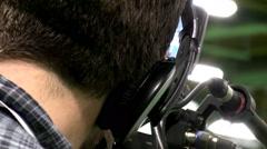 Close up of cameraman working - stock footage
