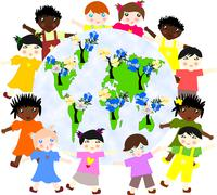 children of different races around the map of our green planet with flowering - stock illustration