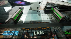 """""""Lids"""" hat and baseball cap store in Times Square, Manhattan, New York City, NYC - stock footage"""