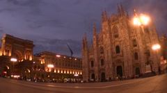 Milan, Dome Square wide angle night time Stock Footage