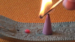 Burn indian  incence cone Stock Footage
