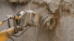 Work 04 Drill Lowering Concrete Stock Footage
