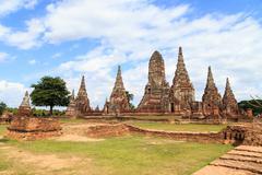 old temple wat chaiwatthanaram - stock photo