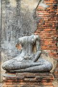 buddha statue in ayuthaya - stock photo