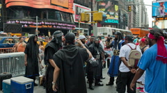 Black Hebrew Israelites preaching arguing crowded Times Square New York City NYC Stock Footage
