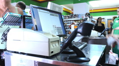 At the cashier market store place Stock Footage