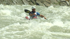 Wildwater canoeing man 11 Stock Footage