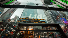 """""""Lids"""" hat and baseball cap store in Times Square, Manhattan, New York City, NYC Stock Footage"""