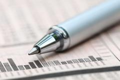 graph chart  with pen - stock photo