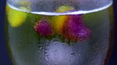 Colorful Icecubes in a Ice Teaglass, bunte Eiswürfel im Eisteeglas Stock Footage
