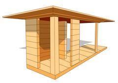 wood shelter - stock illustration