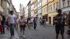 ULTRA HD 4K Tourist people visit crowd downtown old town Prague busy pedestrian Stock Footage